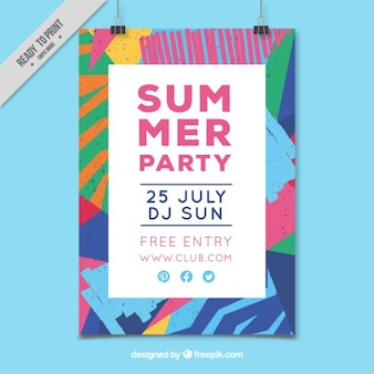 Geometrical summer party poster