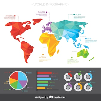 Geometrical world map with infographics