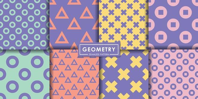 Geometry pastel seamless pattern set, abstract background, decorative wallpaper.