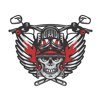 Ghost rider skull road biker vector mascot illustration