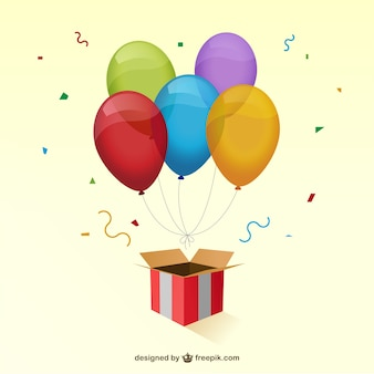 Gift box and colorful balloons