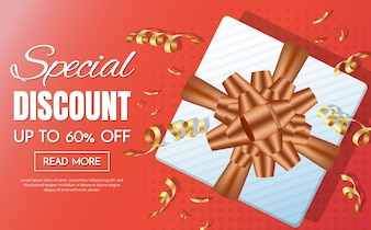 Gift box sale template banner Vector background