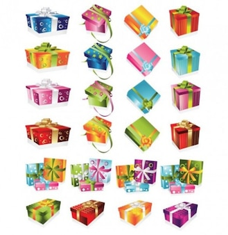 Gift boxes collection on white background