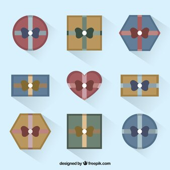 Gift boxes in top view