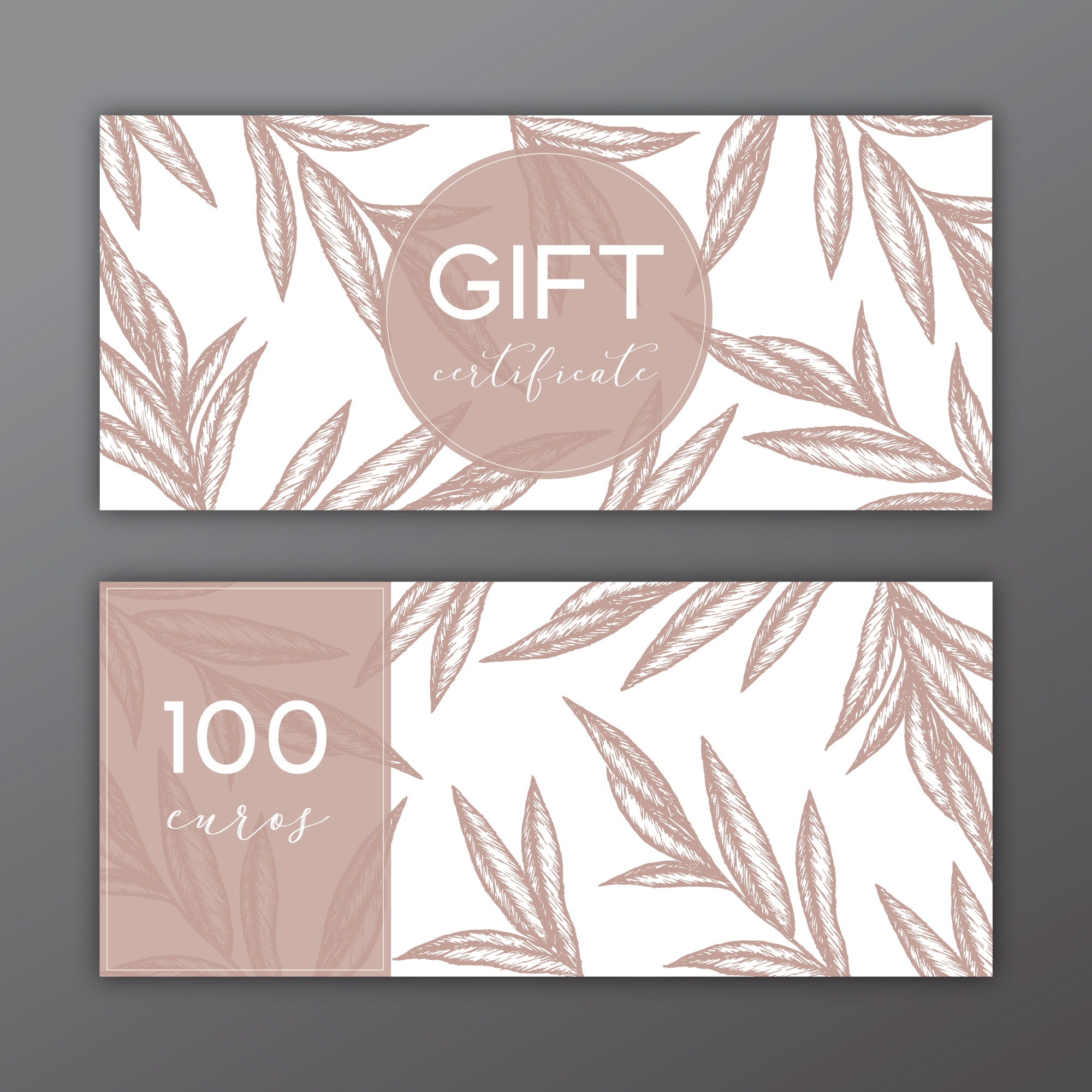 Gift certificate template with hand drawn illustrations