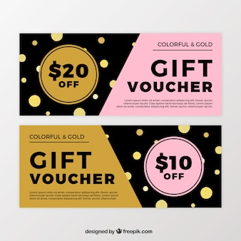 Gift coupons with gold shapes