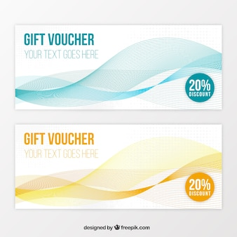 Gift coupons with wavy lines