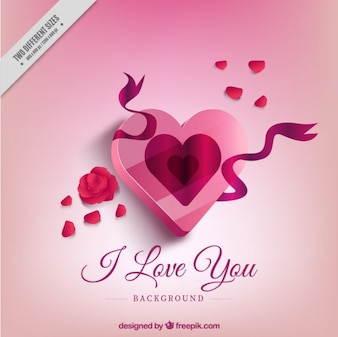 Gift heart shaped background