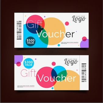 Gift voucher with decorative colored circles
