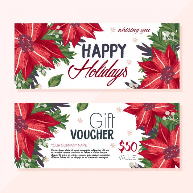 Gift vouchers with christmas flowers