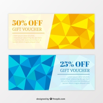 Gift vouchers with fantastic discounts and geometric shapes