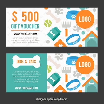 Gift vouchers with pet accessories