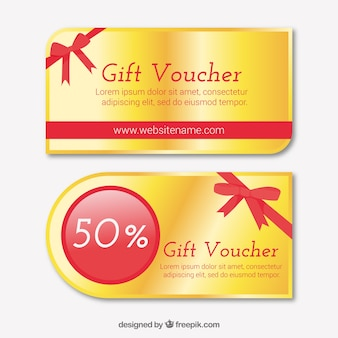 Gift vouchers with red details in geometric style