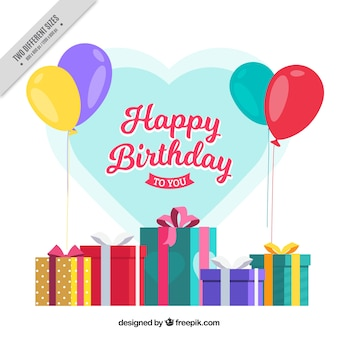 Gifts birthday with balloons background