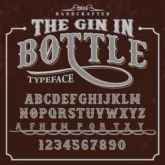 Gin bottle alphabet design