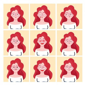 Ginger girl avatars design