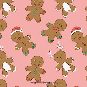 Gingerbread Man Pink Pattern