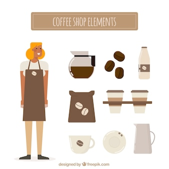 Girl collection with vintage style coffee shop accessories