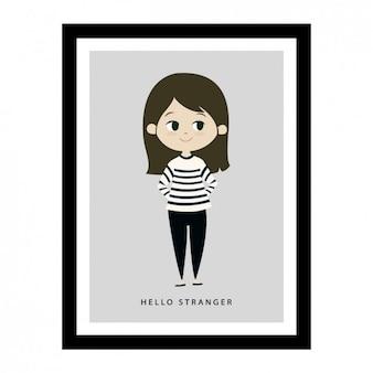 Girl illustration in a frame