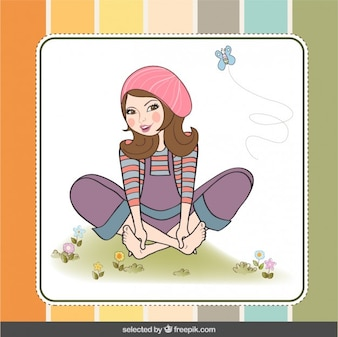 Girl illustration in scrapbook style