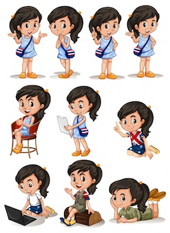 Girl in different actions illustration