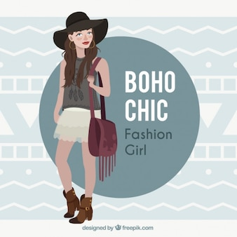 Girl model wearing clothes in boho design