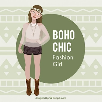 Girl model with boho chic clothes