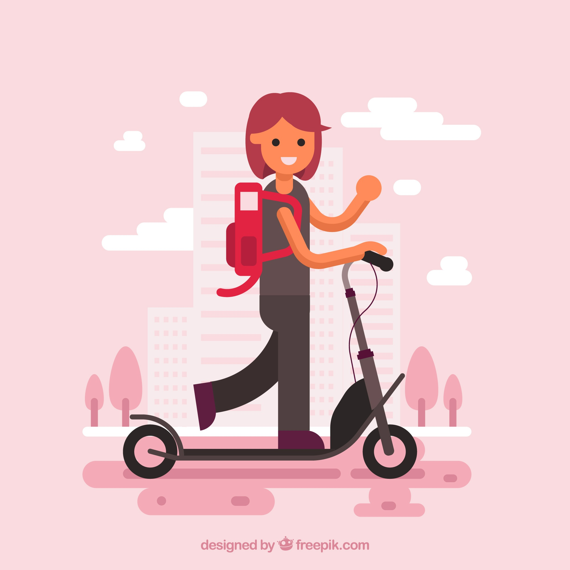 Girl on electric scooter