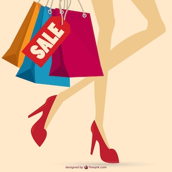 Girl on heels legs holding shopping bags