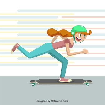 Girl practicing skateboard