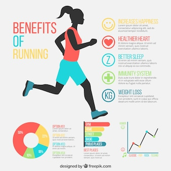 Girl running with infographic