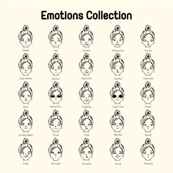 Girl's face emotions collection