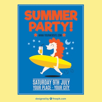 Girl summer party poster with surfboard