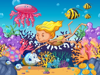 Girl swimming with sea animals underwater illustration