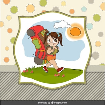 Girl with a big backpack illustration