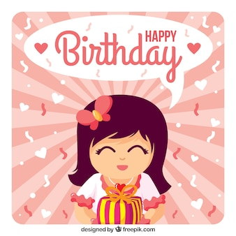 Girl with a gift happy birthday card