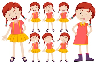 Girl with different facial expressions illustration