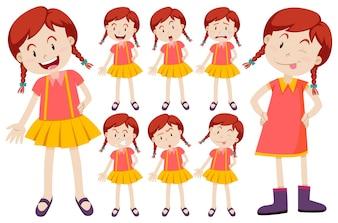 女の子、異なる、表情、イラスト、イラスト