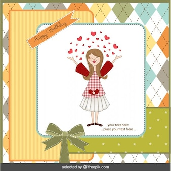 Girl with hearts birthday card in scrapbook style