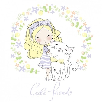 Girl with her cat design