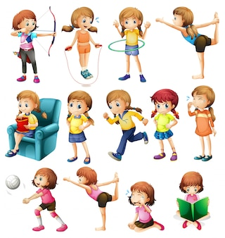 Girls doing different activities illustration