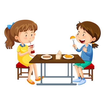 Girls eating design