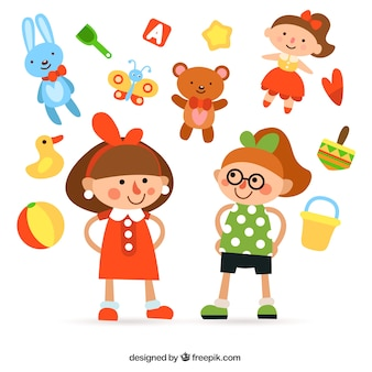 Girls illustration and toys