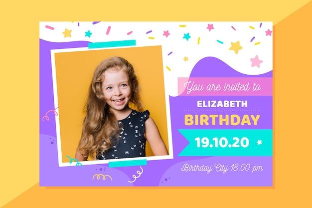 Girly birthday invitation with photo