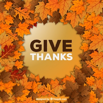Give thanks background with leaves