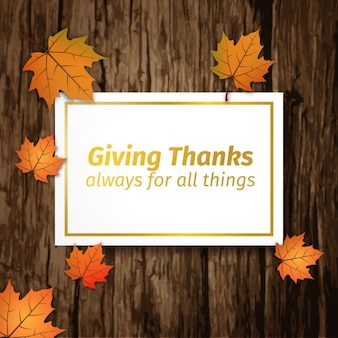 Giving thanks card on wood background
