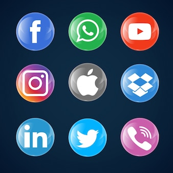 Glass bubble social media icons