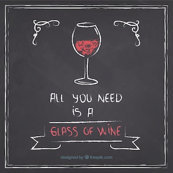 黒板にワインのグラス