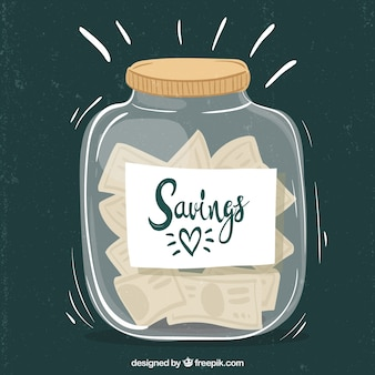 Glass pot full of money with flat design