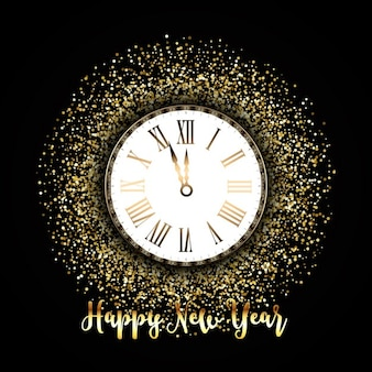 Glitter background with a clock for new year